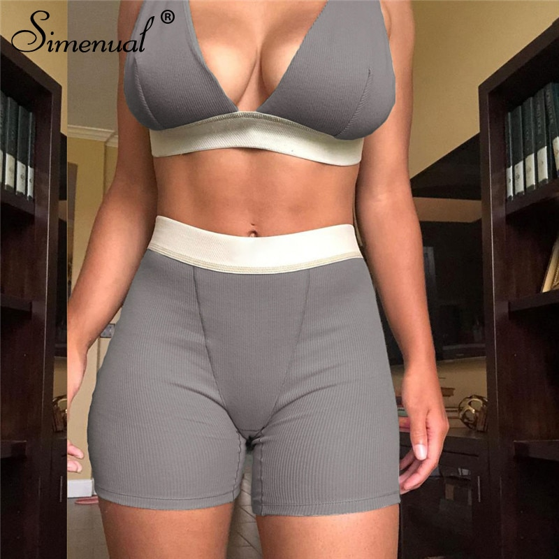 Simenual V-Neck Sporty Casual Workout Matching Sets Women Sleeveless Backless Patchwork Tracksuits Fitness Top And Shorts Set