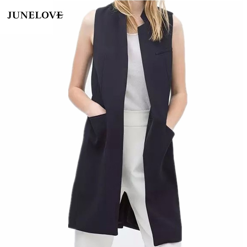JuneLove 2020 blazer casual vest waistcoat women stand collar long suit vest female jacket coat black pockets office lady Work
