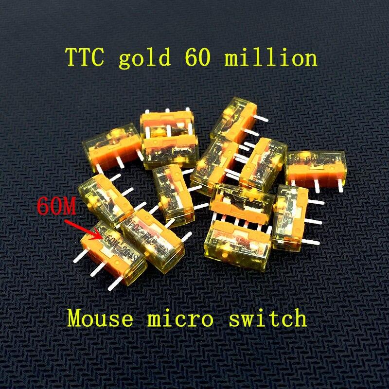 100 قطعة نمط جديد الأصلي TTC الغبار الذهب سلسلة ماوس مايكرو التبديل 3 دبوس الذهب قواطع 60 مليون نقرات مدى الحياة