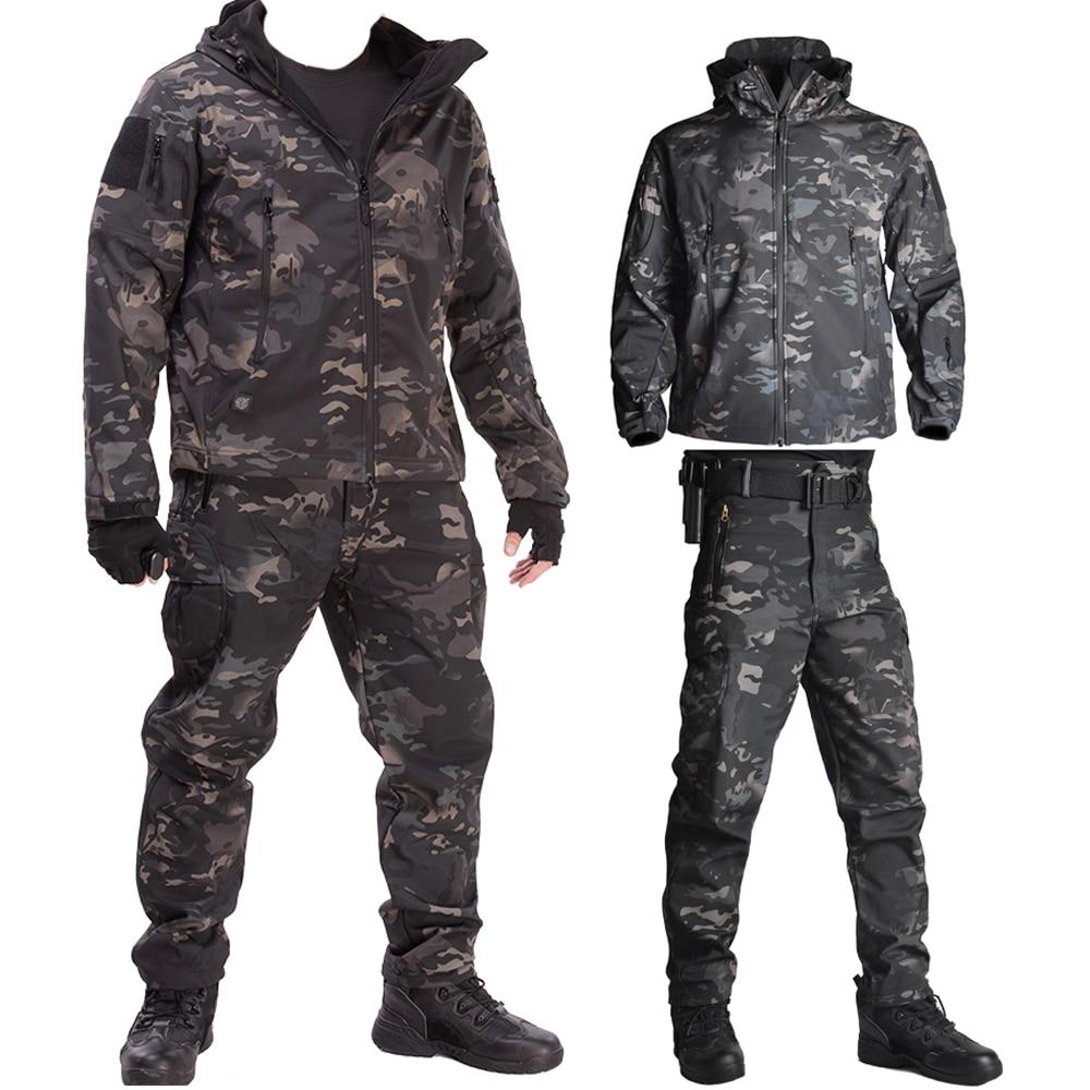 Охотничья одежда, армейская водонепроницаемая одежда для страйкбола, комплект охотничьей куртки с мягким корпусом, тактические куртки и бр...