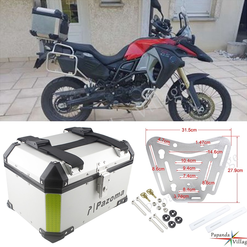 Motocicleta moto caixa traseira de alumínio prata caso superior 45l carga passageiro bagagem caixa universal para honda harley triumph bmw r1200gs