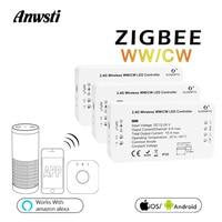 GLEDOPTO Zigbee LED Controller CCT Wireless Control Smart Home Bridge WW CW LED Strip Dimmer Switch 12V 24V Work with Alexa Echo
