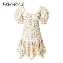 Deuxtwinstyle élégant Patcwhork robes en dentelle femme col carré manches bouffantes taille haute ourlet irrégulier Hit couleur robe femmes marée