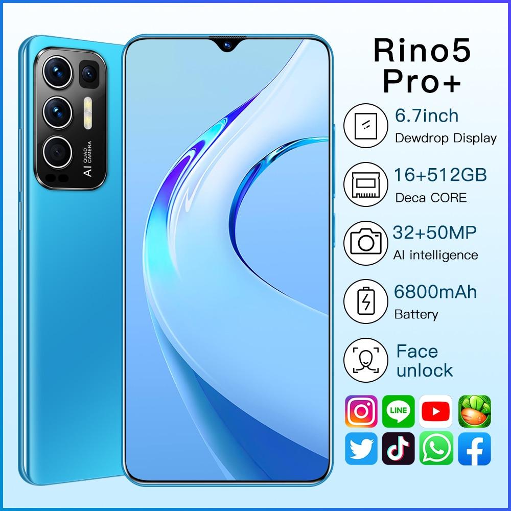 Rino5 Pro+ Smart phones New 2021 6.7 Inch 16+512GB Face Fingerprint Unlock 32+50MP 10 Core 6800mAh Andriod Cellphone MTK6889