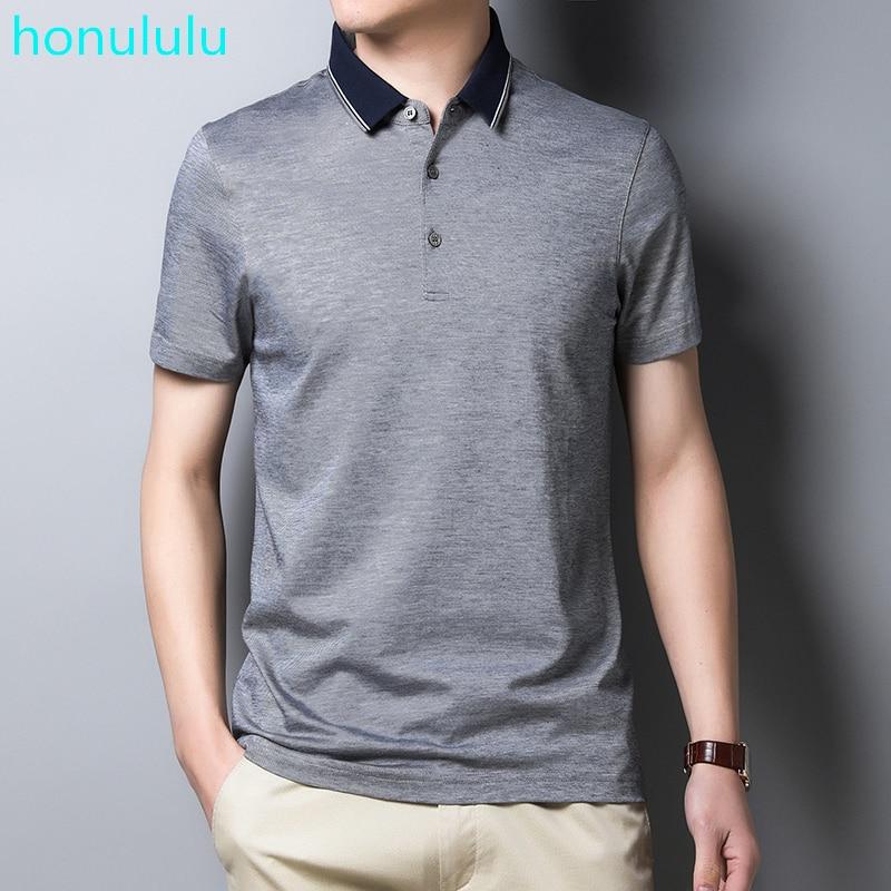Camiseta polo de manga corta mulberry de verano para hombre de mediana edad, Camiseta holgada de tapeta holgada de algodón mercerizado, camiseta informal de media manga para hombre
