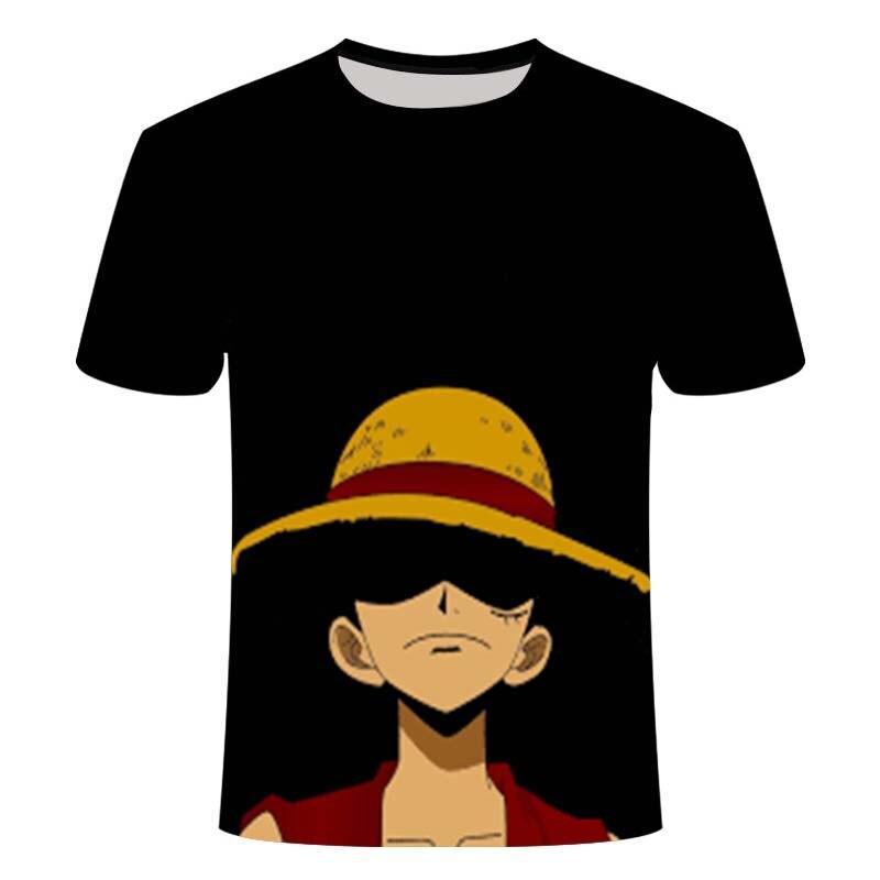 ¡Luffy-Camiseta de manga corta para hombre y nina Camiseta holgada informal Anime...
