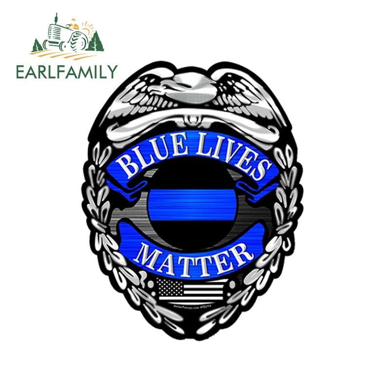 EARLFAMILY 12 см x 9,5 см полицейский значок тонкая синяя линия стикер FS294 США бампер виниловая наклейка жизнедеятельность автомобиля Стайлинг стикер для ноутбука
