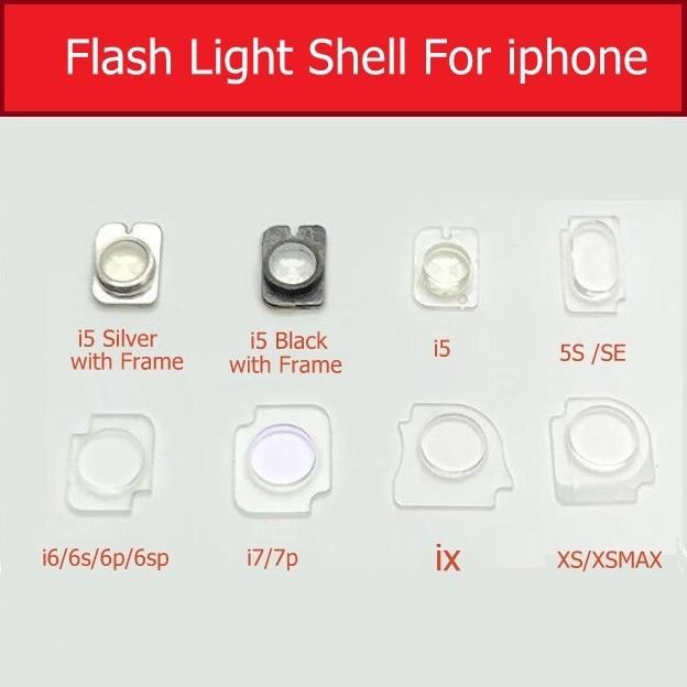 Carcasa de luz de Flash Clip de soporte de plástico flexible para iPhone 5 5s se 6 7 Plus X Xs Max Flash luz de plástico soporte de anillo piezas de reparación