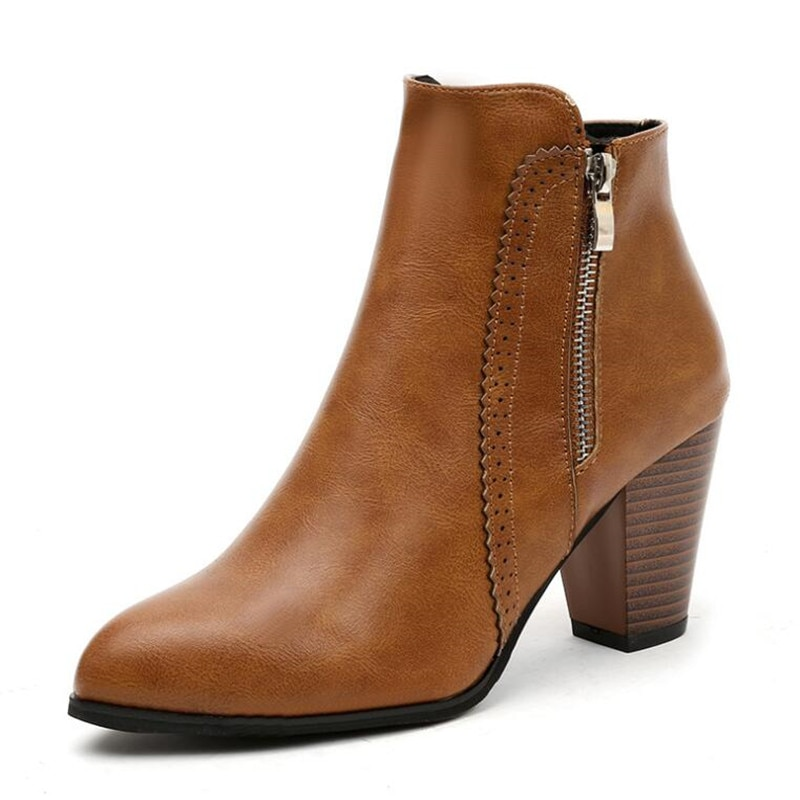 LZJ 2019 Winter Fashion Retro Women Boots Vintage Block Heel Ankle Boots Side Zipper High Heels Women Shoes Big Sizes 35-43