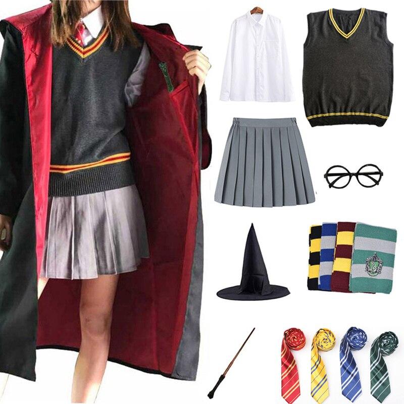 De Gryffindor para Cosplay disfraces bata mágica capa Potter trajes cabo Hermione falda Cosplay Slytherin Ravenclaw Hufflepuff