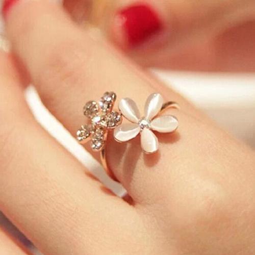Anillo abierto de doble Margarita de ópalo, bonito Diamante de imitación ajustable para mujer, accesorios de joyería de boda, regalo
