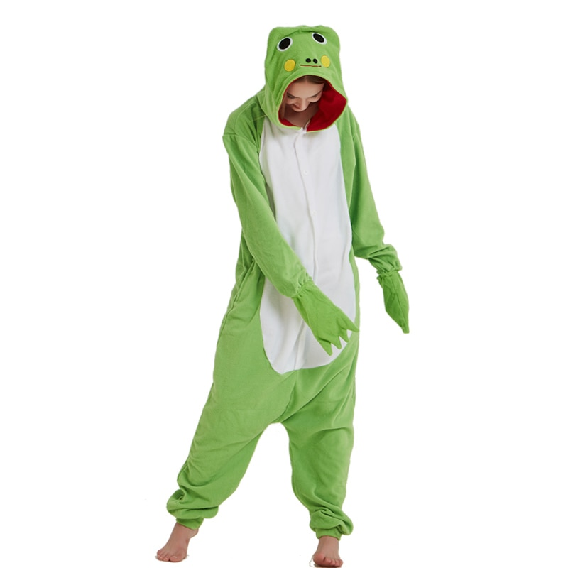 Green Frog Animal Women Onesie Pajama Adult kigurumis Funny Homewear Polar Fleece Pajames Men Party Jumpsuit Unisex Sleepwear