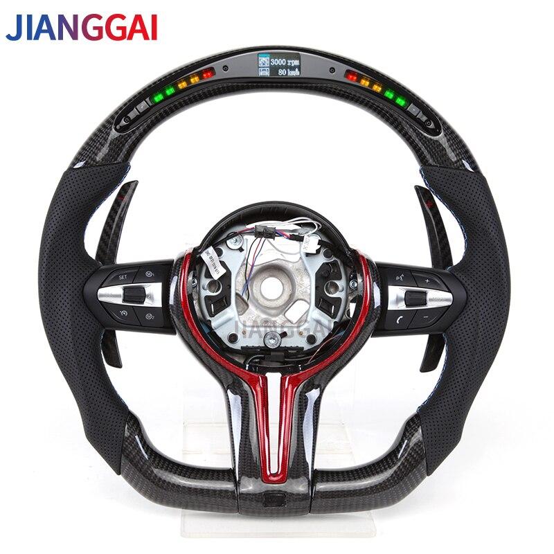 Рулевое колесо из углеродного волокна, подходит для BMW M3M5 1- 4 серии X1 X2 X3 X4 X5 X6, светодиодная подсветка переключения