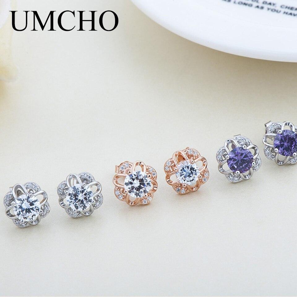 UMCHO 925 joyería de plata de ley púrpura claro Zircon pendiente para mujeres niñas Aniversario de amantes regalos románticos joyería fina