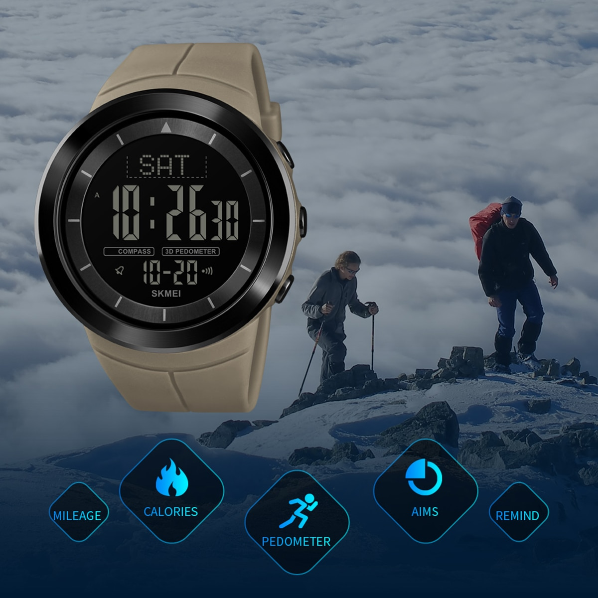 Outdoor 50M Waterproof Sports Watch Digital EL backlight Compass Pedometer Calorie Wrist Watch for Running Hiking Camping