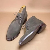 new men shoes fashion trend business casual all match handsome gray faux suede classic lace up comfortable ankle boots ks225