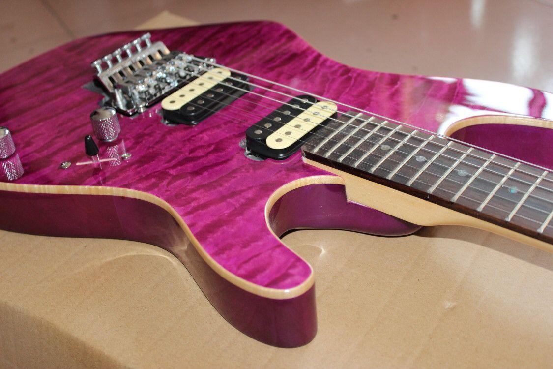 Eelectric guitar.purple color flame maple top gitaar,handmade 6 stings guitarra,rosewood fingerboard. enlarge