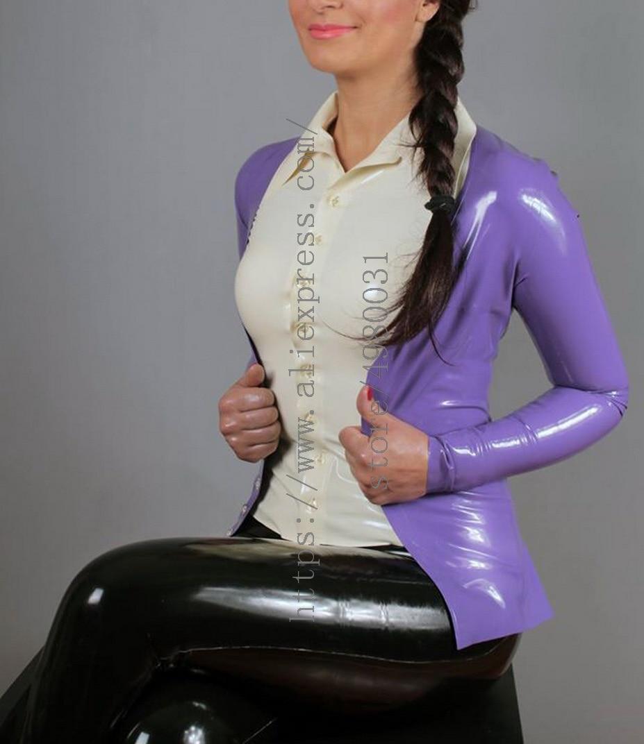 معطف كارديجان نسائي من اللاتكس, معطف لاتكس بنفسجي اللون مصنوع من لاتكس حقيقي وطبيعي 100%