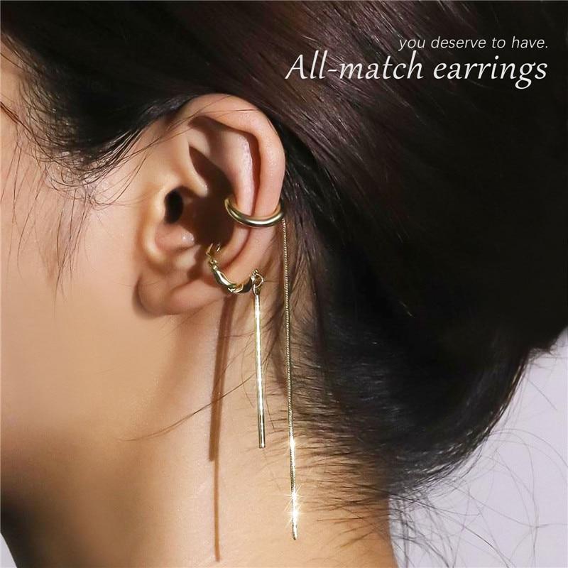 HI MAN French Crystal Long Short Asymmetrical Ear Bone Clip Women Exquisite Fashion Show Jewelry Gif