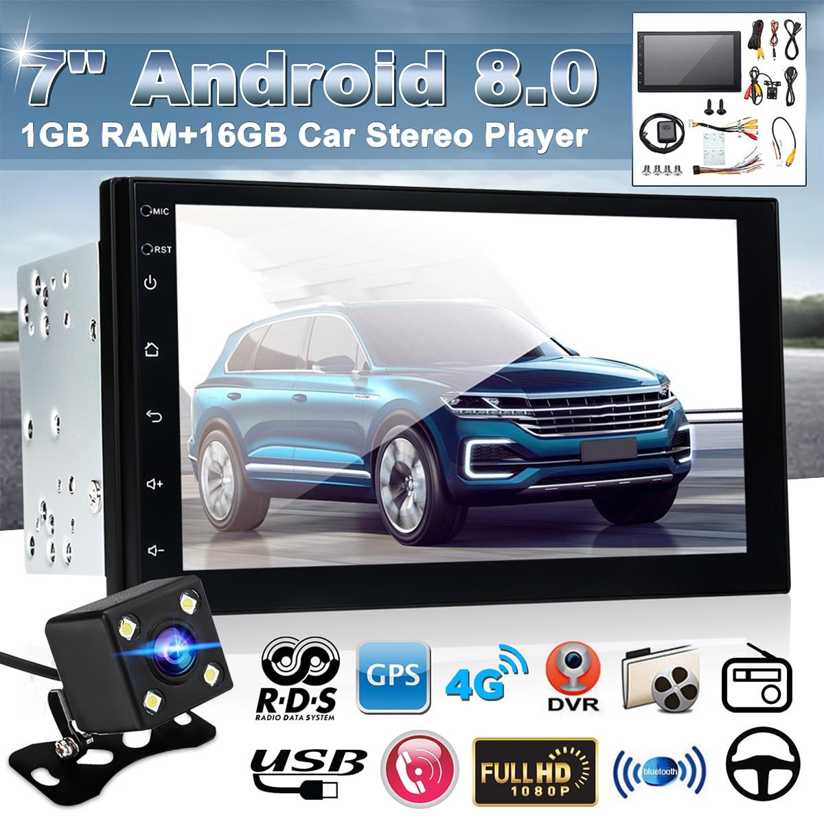 Radio Estéreo para coche con Android 8,0 de 7 pulgadas, pantalla táctil 2,5d, 2 Din, Quad Core, 1 + 16G, GPS, WIFI, FM, reproductor Multimedia automático con cámara trasera