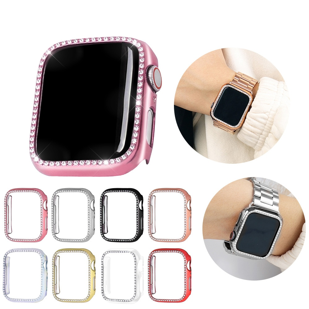diamond case for apple watch band 40mm 44mm series 4 aluminum alloy frame strap bumper for iwatch 5 4 3 2 1 cover shell 38mm 42mm Diamond case cover For Apple watch band 5 4 3 2 1 case cover 44mm 40mm 42mm 38mm iwatch band Crystal protective bumper