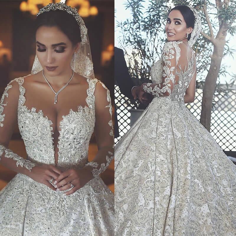 Luxury Beaded Muslim Wedding Dress Sexy Illusion Back Long Sleeve A-Line Ball Gown Bride Dress Scoop Neck Vestido De Novia