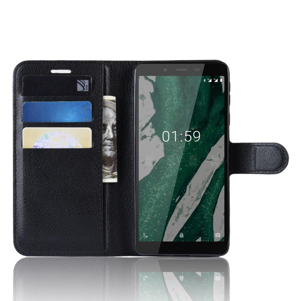 Nokia1 + funda para Nokia 1 Plus (5,45 pulgadas), Funda tipo libro con soporte para tarjetas, funda protectora de cuero con tapa negra para Nokia1 Plus