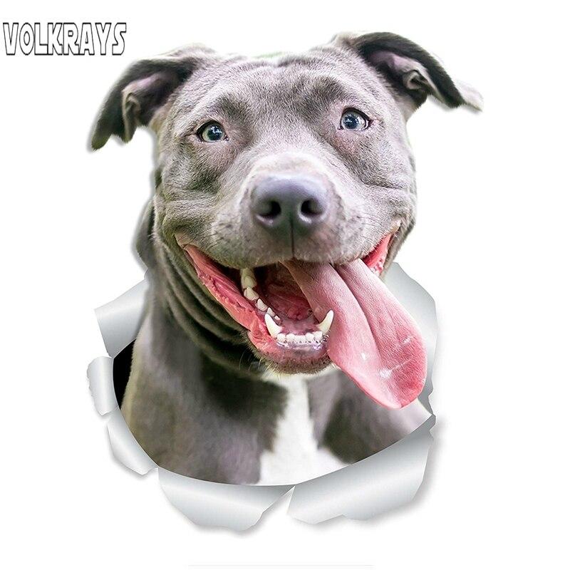 Volkrays divertido 3D pegatina de perro para coche americano matón feliz Pit Bull perro etiqueta impermeable accesorios de Auto vinilo 15cm * 10cm
