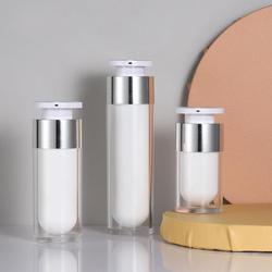 Garrafa de empacotamento cosmética da bomba do frasco do creme das garrafas recarregáveis vazias redondas do frasco mal ventilado acrílico branco da pérola 15ml 30ml 50ml