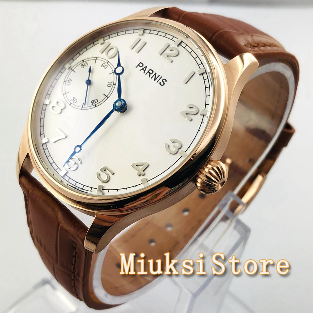 Parnis-ساعة ميكانيكية للرجال ، ساعة يد رجالية مع علبة من الذهب الوردي والأبيض ، حزام جلدي ، 3600