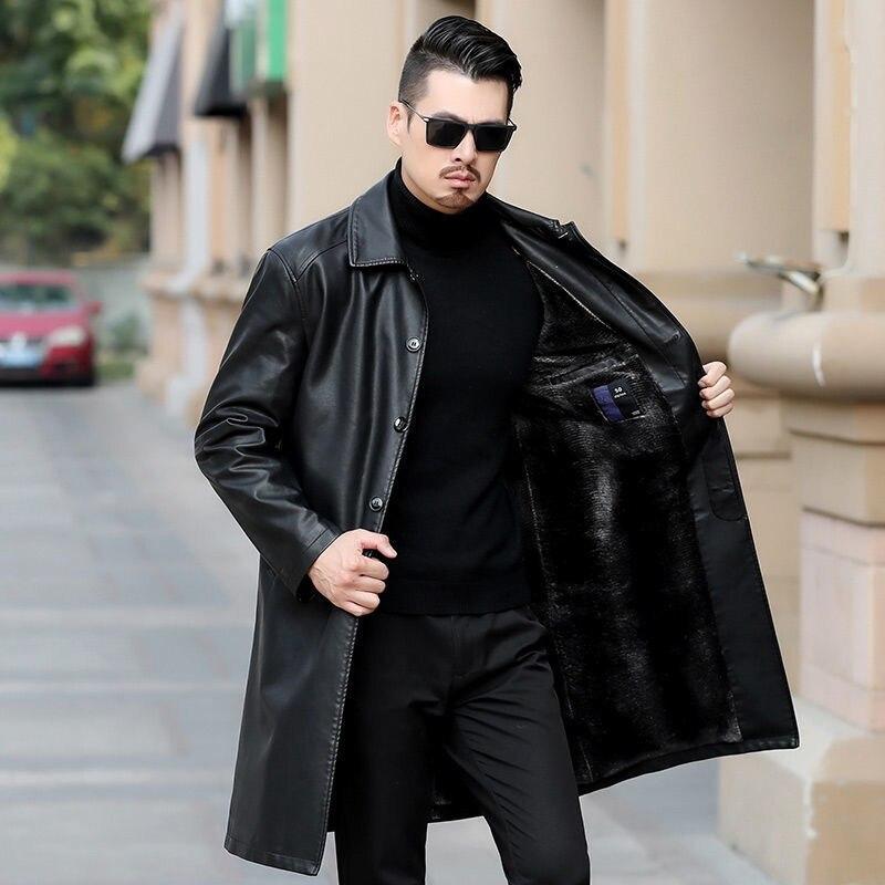 معطف جلد الرجال الشتاء الشباب التلبيب بأكمام طويلة سترة زائد الجلد المدبوغ خندق معطف