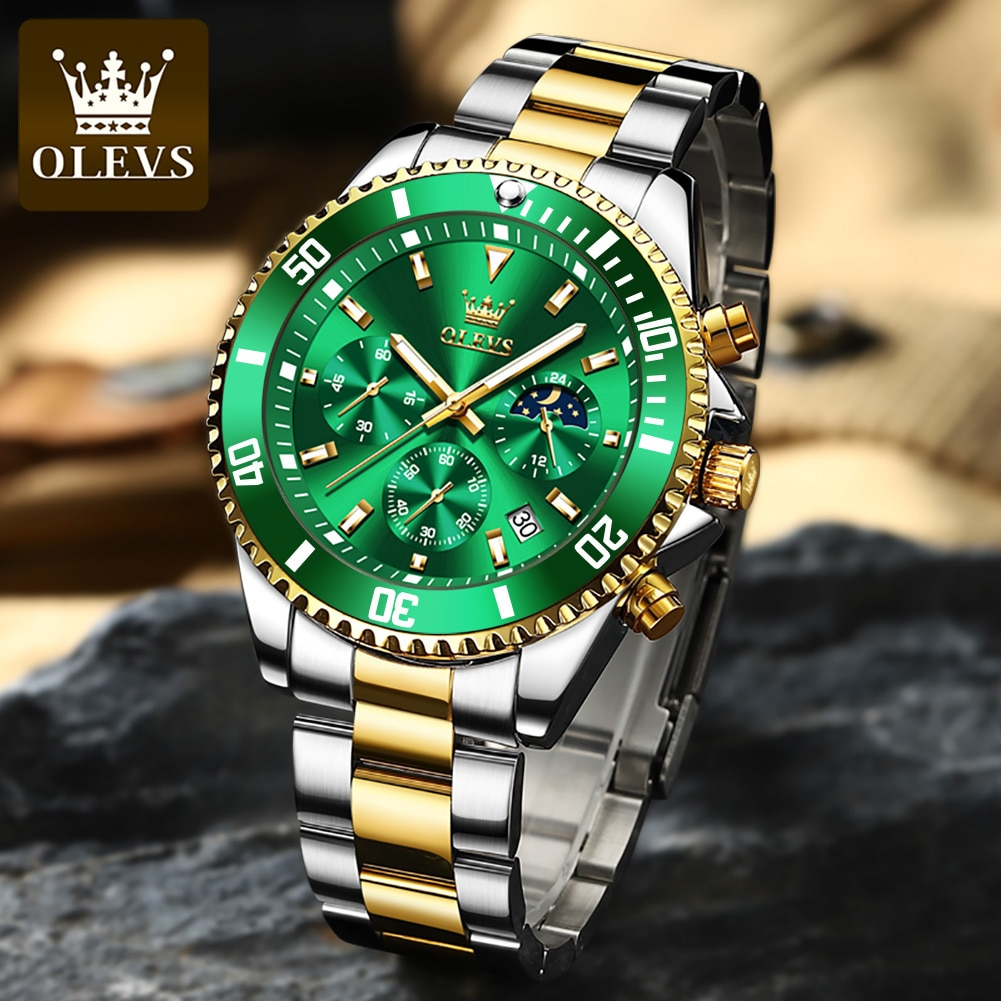 OLEVS Watch for Men Luxury Stainless Steel Men Quartz Wristwatches Sports Waterproof Dive Green Wris