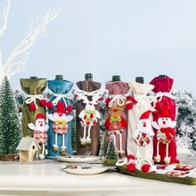 Drawstring Decorative Wine Bottle Covers Treat Bags With Cute 3D Doll Christmas Holiday Dining Table