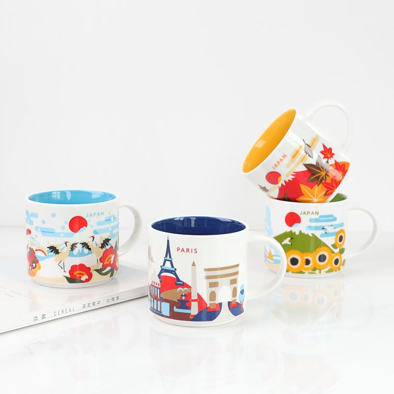 Creativity City Cup USA China Japan UK City Ceramic Mug Global Collection Special Gift