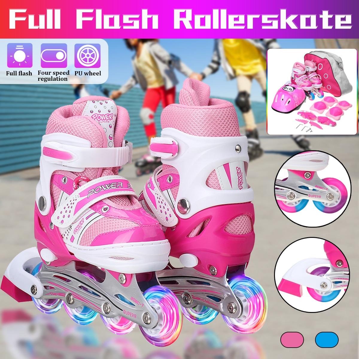 Детские регулируемые коньки, роликовые коньки для мальчиков и девочек, полный комплект, детские роликовые коньки, комбинированный комплект...