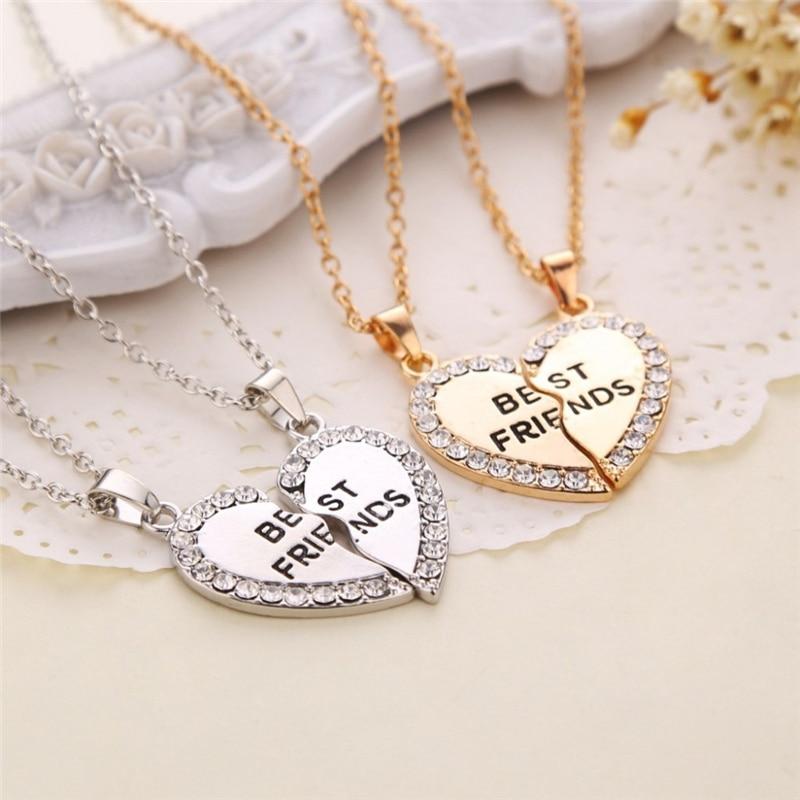 Unisex 2 Pcs BFF Necklace Women Crystal Heart Pendant Best Friend Letter Necklace Fashion Couple Nec