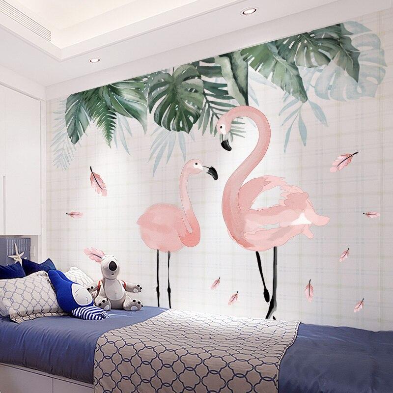 Shijuekongjian, pegatinas de pared de hojas tropicales, pegatinas de pared de flamenco DIY para sala de estar, habitación de los niños, decoración del dormitorio