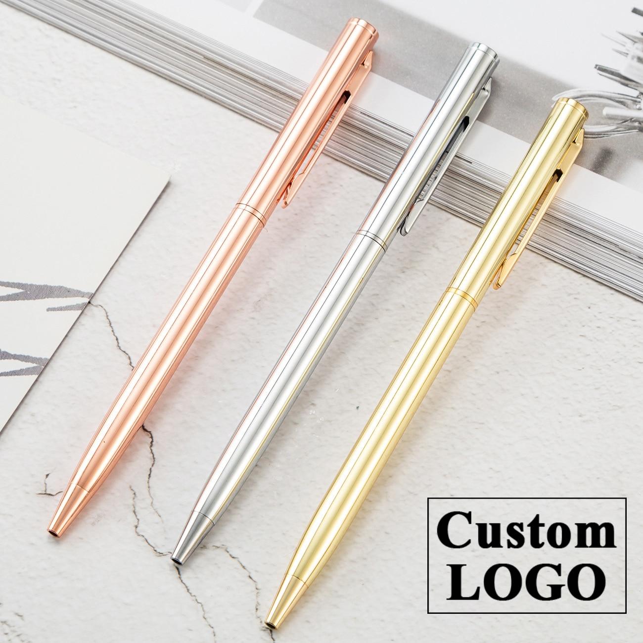 Роскошная ручка под розовое золото металлическая шариковая ручка Пользовательский логотип рекламная Шариковая ручка для школы и офиса надпись выгравированное имя