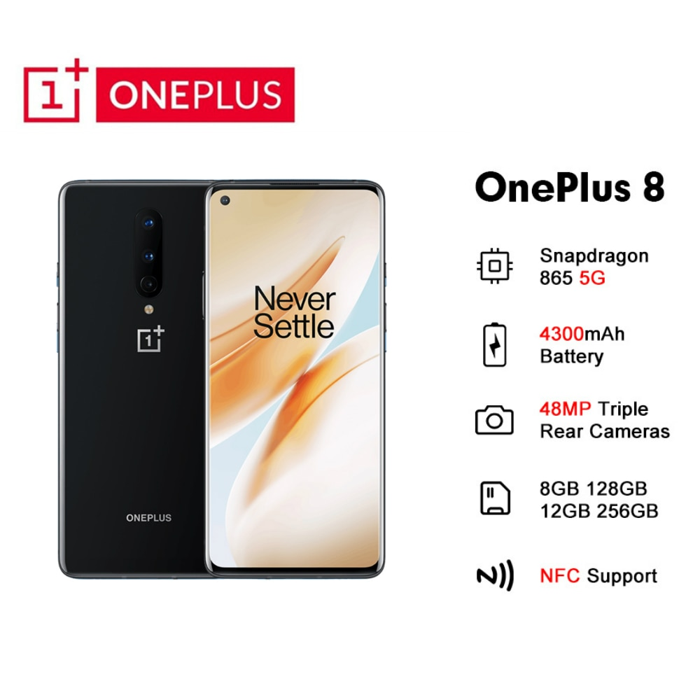 Global Rom Oneplus 8 5G Mobile Phone 8/12GB RAM 128/256GB ROM Android 10 48MP Triple Camera NFC Smartphone Snapdragon 865