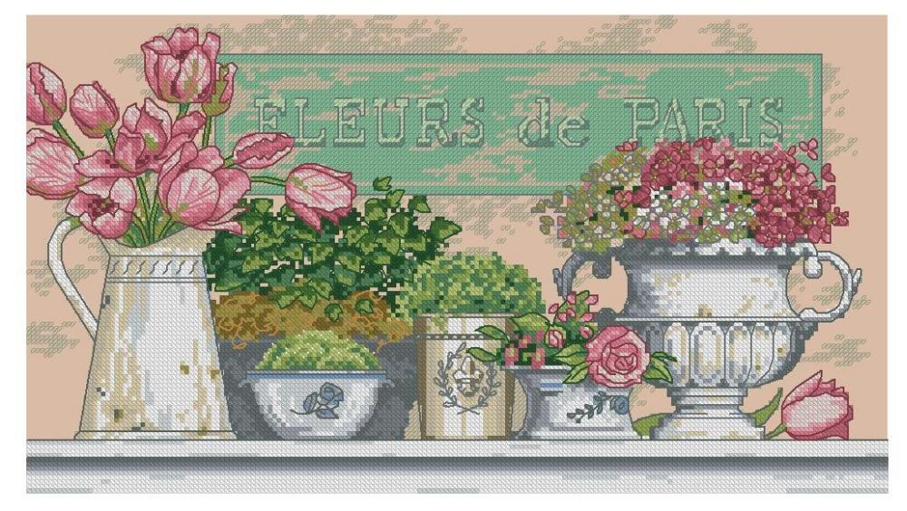 Kit de punto de cruz de algodón de calidad superior, flores de París Dim 35204