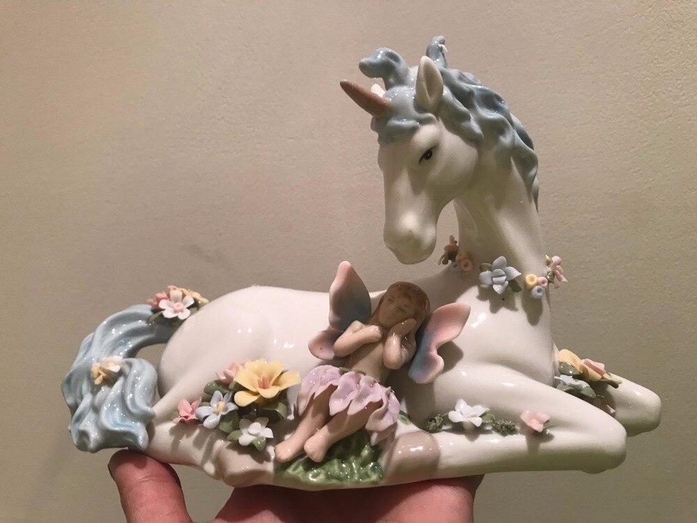 Bonita caja de música de unicornio de cerámica tradicional americana, regalo de cumpleaños, adornos de boda