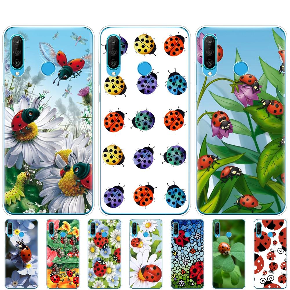 Funda del teléfono del móvil de silicona para HONOR 20 lite, funda para honor 20 lite view 30 v 30 pro, funda para huawei HONOR 20S 9A 9C 9X Premium 7s 8a ladybug lady bug