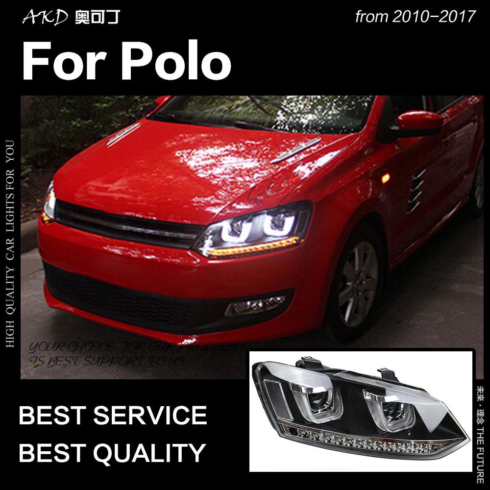 AKD سيارة التصميم ل VW بولو المصابيح الأمامية 2010-2017 بولو LED العلوي LED DRL Hid رئيس مصباح الملاك العين ثنائية زينون شعاع اكسسوارات