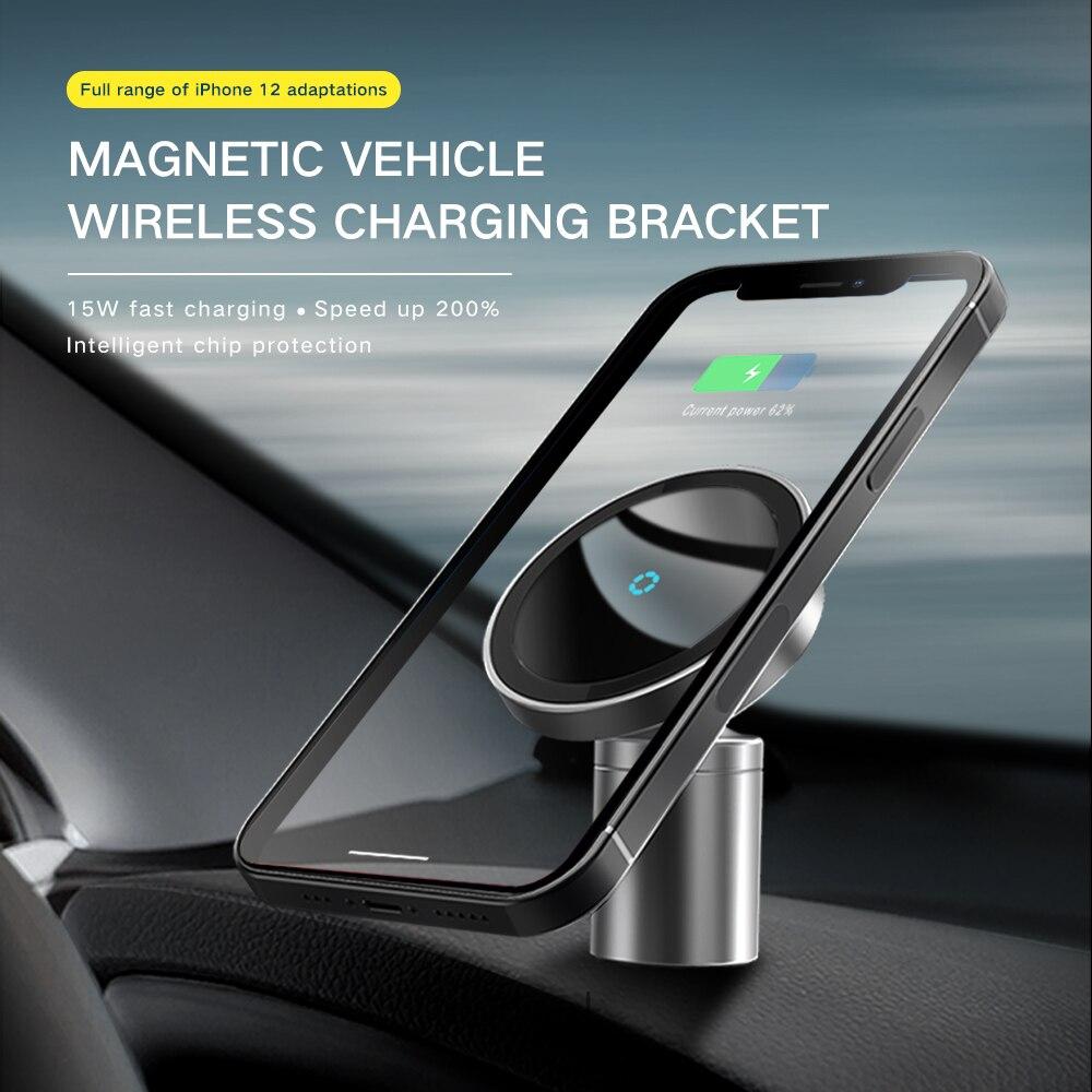 15 واط جديد المغناطيسي شاحن آيفون 12 برو ماكس صغيرة Magsafing سيارة حامل شاحن لاسلكي شحن حامل هاتف السيارة حامل 2 في 1