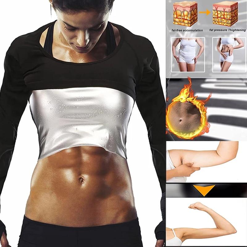 Костюм для сауны для женщин, рубашка с длинным рукавом, топ для сауны, тренировок, фитнеса, сауны, шейпер для похудения, термическая сушка, се...