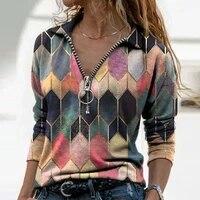 2021 fall vintage geometric print blouse women long sleeve v neck loose shirt casual pullover ladies elegant tops oversized