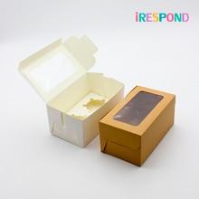 50 pièces boîte de papier Kraft brun avec fenêtre bonbons Cupcake boîtes à muffins boîte-cadeau emballage de gâteau de mariage papier blanc 2 tasses support de gâteau