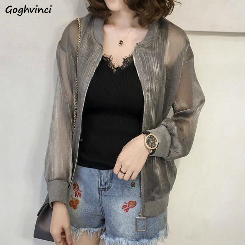Basic Jackets Women Zipper Lurex Solid Simple Sun-proof Elegant Leisure Women Daily Outwear Coats Ov