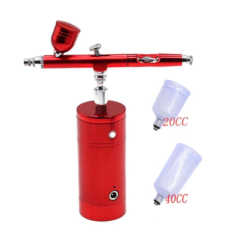 Multi-purpose airbrush compressor de ar kit dupla ação 0.3mm bico pintura pistola kit portátil escova de ar conjunto carregador de bateria