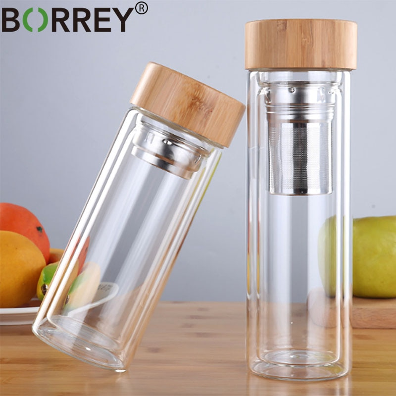 BORREY 450Ml Glass Water Bottle Anti-scald Double Wall Tea Bottle With Infuser Filter Strainer Offic